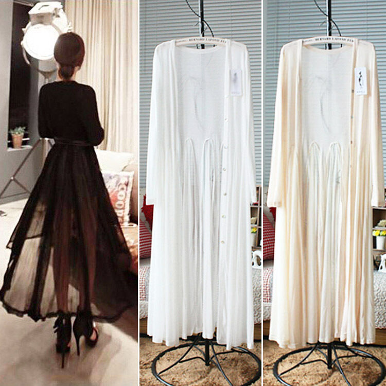 SUN BEACH Protection Women Chiffon Sheer Long Cardigan Maxi Dress ...