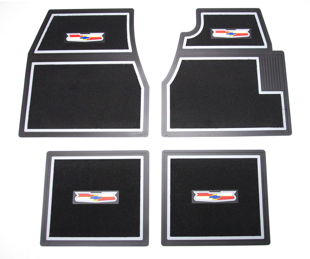 55 56 57 Chevy Black Carpet Floor Mats With Crest Logo
