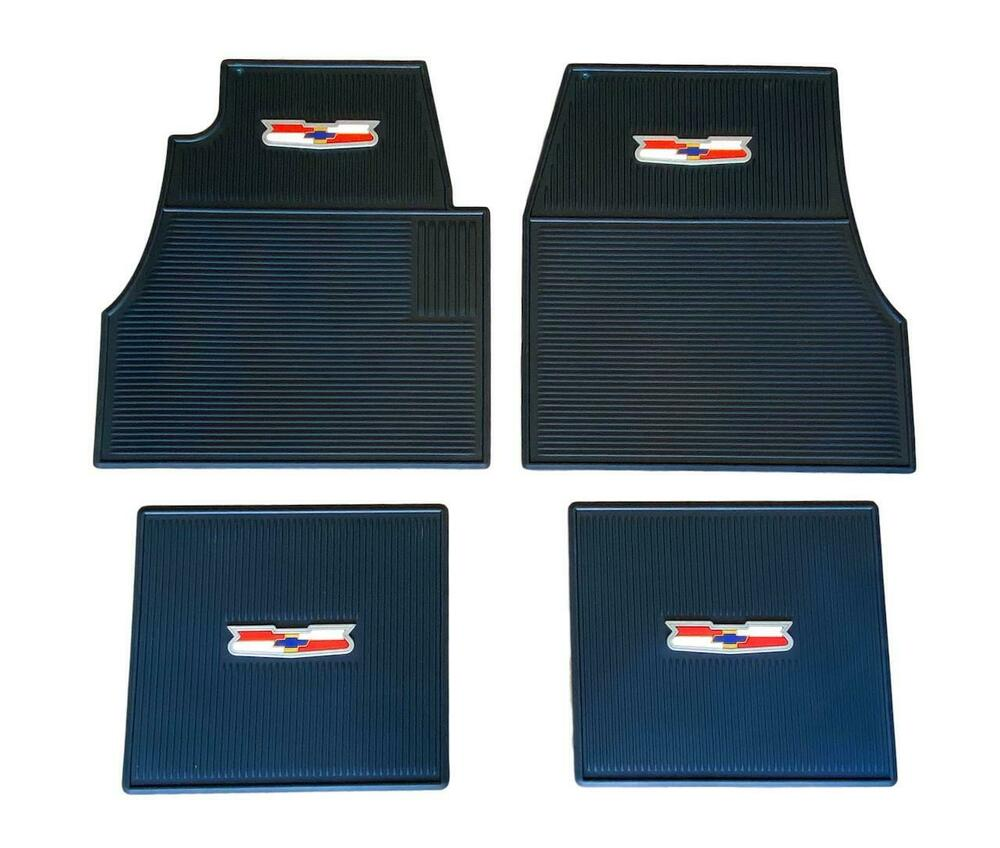 55 56 57 Chevy BLUE Floor Mats With Crest Logo NEW