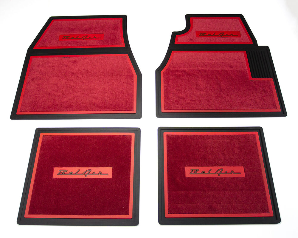 55 56 57 Chevy Red Carpet Floor Mats With Belair Logo Ebay