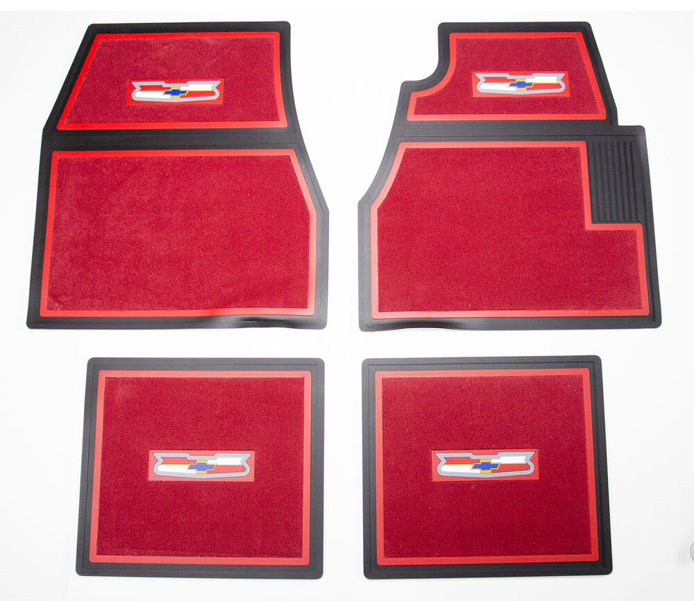 55 56 57 Chevy Red Carpet Floor Mats with Crest Logo | eBay