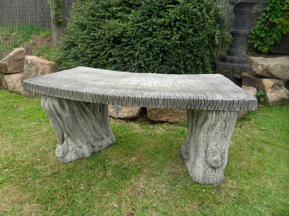 Woodland stone bench garden furniture ebay Stone garden bench