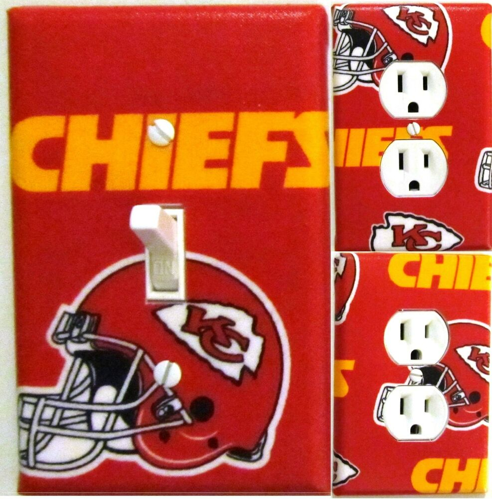 Kansas city chiefs custom light switch wall plate covers for Home decor kansas city
