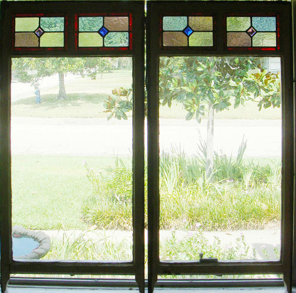 Transom Windows: Large Tall Pair Of Antique Stained Glass Windows Fantastic