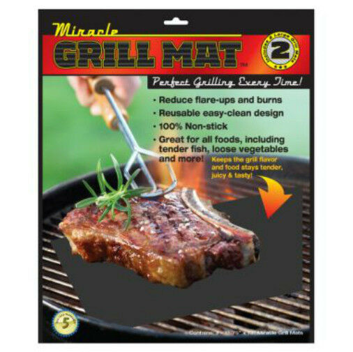 Miracle Grilling Mat Set Of 2 Non-Stick Grill Mats BBQ Bar