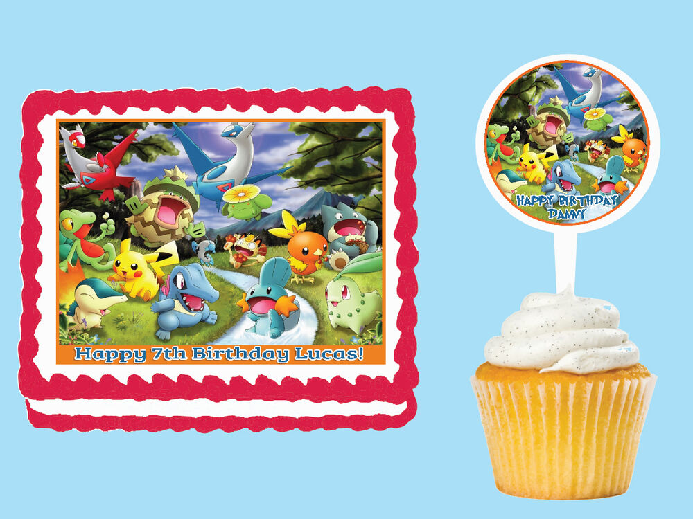 Pokemon forest edible cake topper cupcake image decoration for How to make edible cake decorations at home