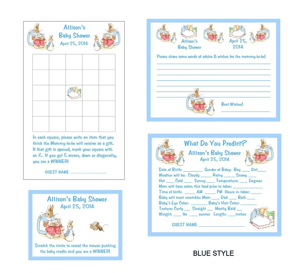 Beatrix Peter Rabbit Baby Shower Game Package #1