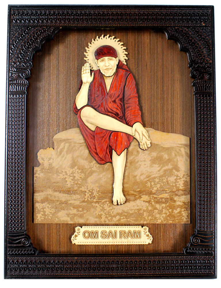 wood carved royal frame wall hanging of satya sai baba religious hindu god ebay