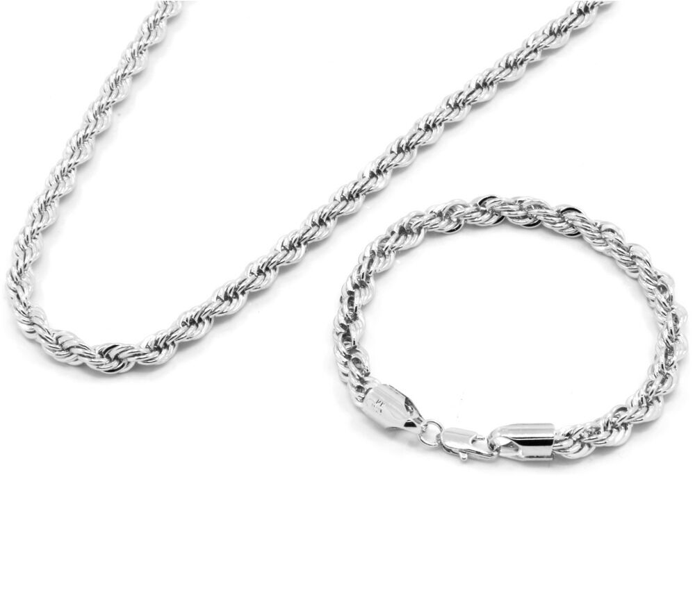 """Silver Rope Bracelet: Men's Silver Chrome Plated 20"""" Inch 6mm Hip-Hop Dookie"""