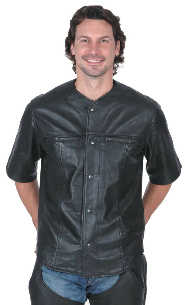 Find the leather shirt or lightweight jacket you've been looking for right here with this selection. Jamin Leather's exclusive collection of classic styles of short sleeve and long sleeve leather shirts. These leather shirts are perfect for everyday wear or lightweight motorcycle gear.