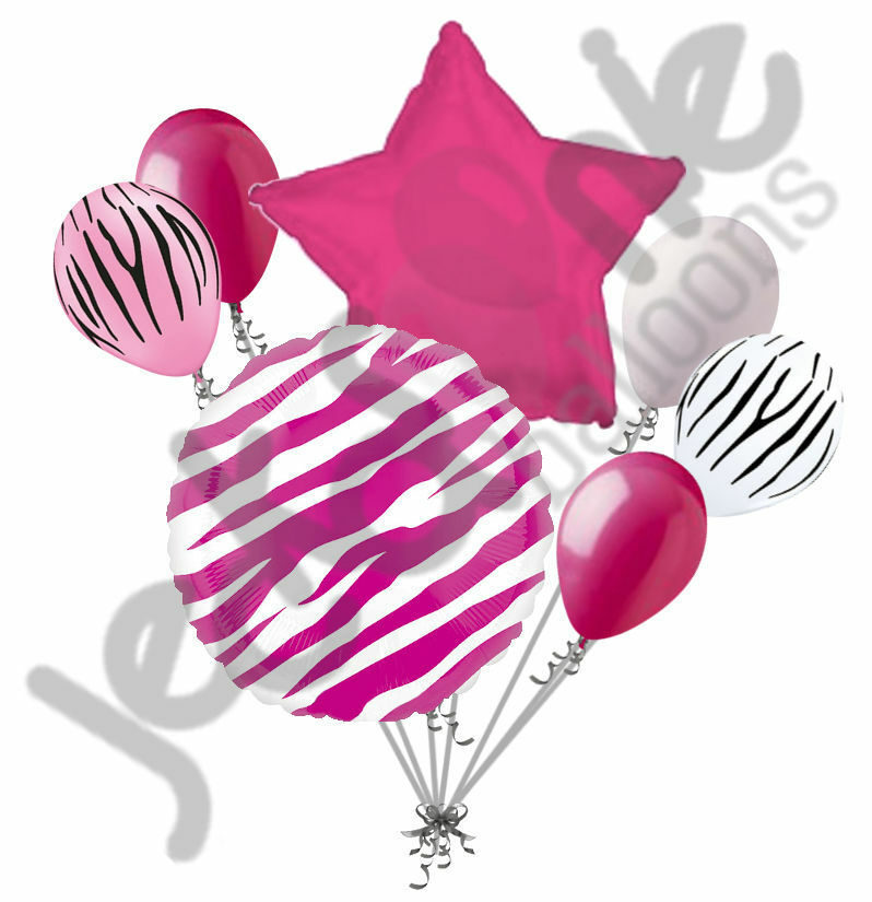 7 Pc Hot Pink Zebra Print Balloon Bouquet Happy Birthday