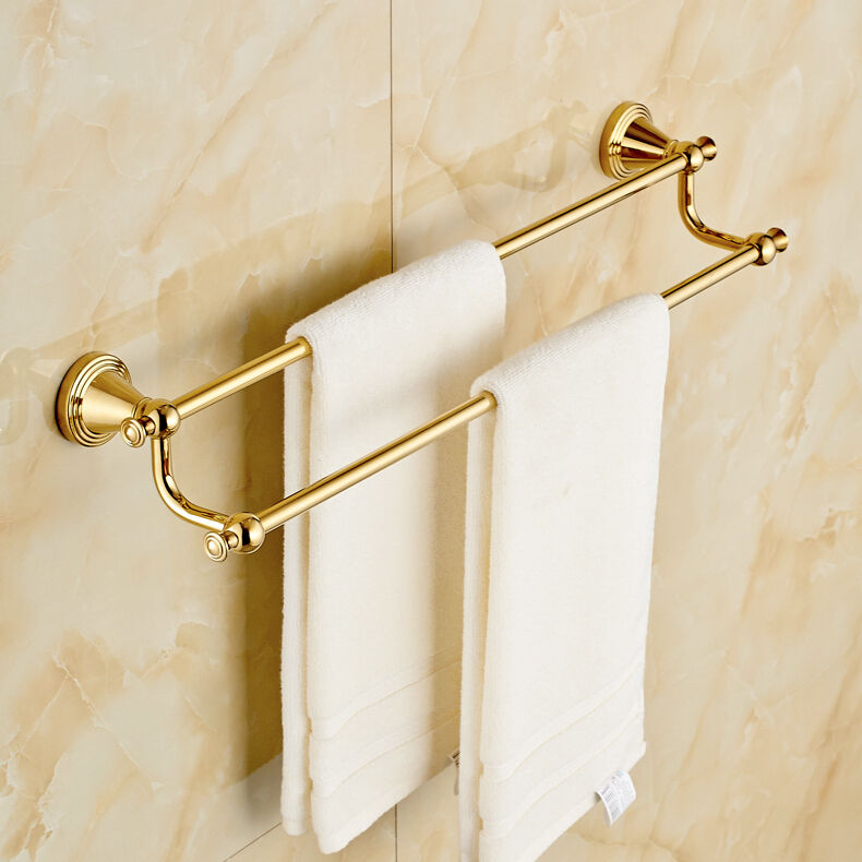 Gold Towel Rails For Bathrooms: Wall Mount Double Towel Rail Gold Finish Bath Towel Bar