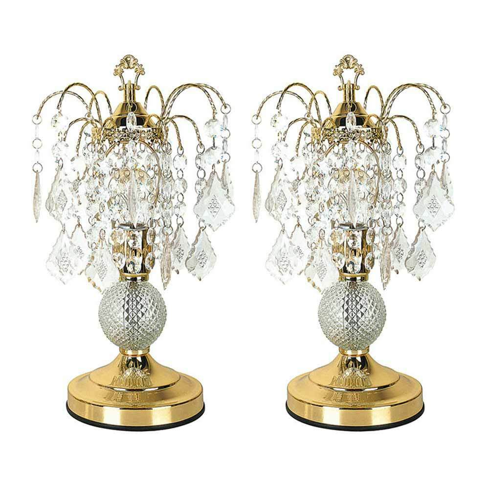 Crystal Chandelier Table Lamps: Elaine Luxurious Set Of 2 Table Lamps Crystal Like Base
