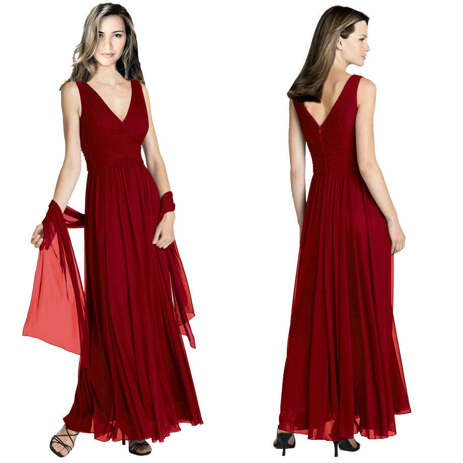 Flowing Wedding Gown: Pleated Flowing Formal Evening Gown Bridesmaid Dress With