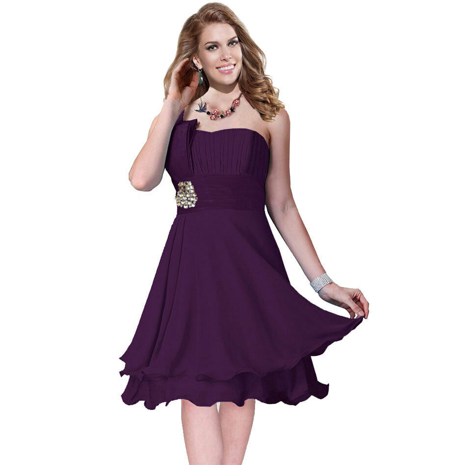 Layer chiffon formal cocktail prom party dress deep purple ebay