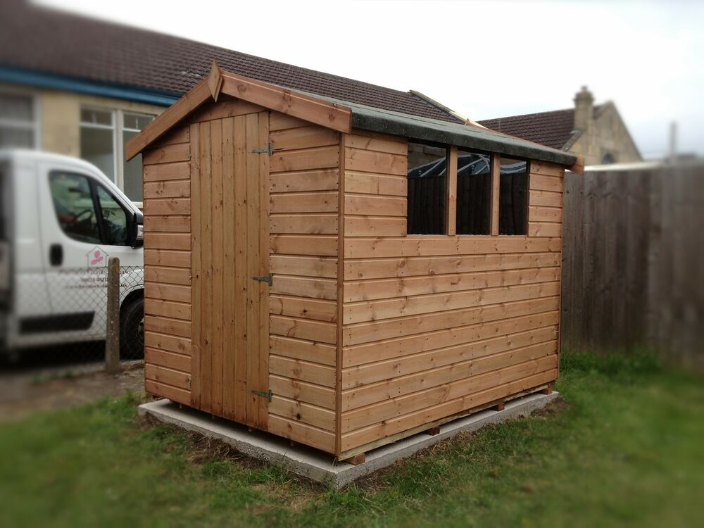 Tongue groove garden apex storage shed brand new ebay for Apex garden sheds