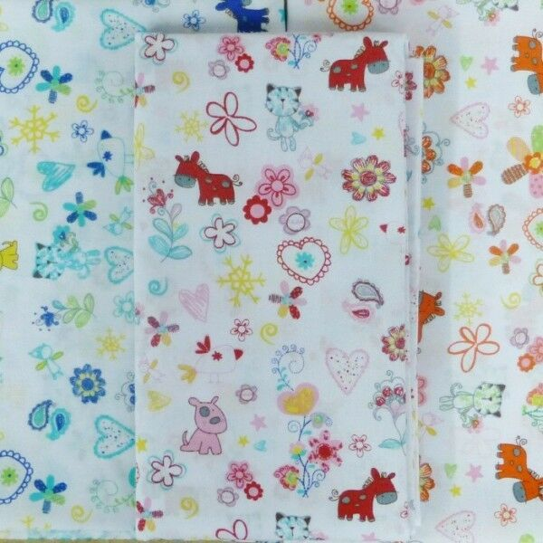 Kids baby nursery dog cats hearts horses polycotton fabric for Nursery fabric uk