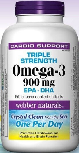Webber naturals triple strength omega 3 900 mg epa dha for Viva naturals triple strength omega 3 fish oil