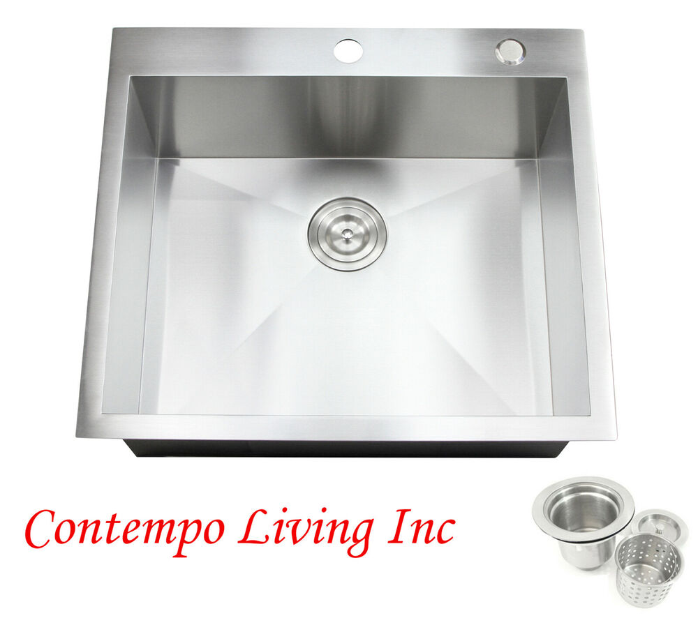 25 x 22 x 10 deep topmount drop in stainless steel for Best quality stainless steel kitchen sinks