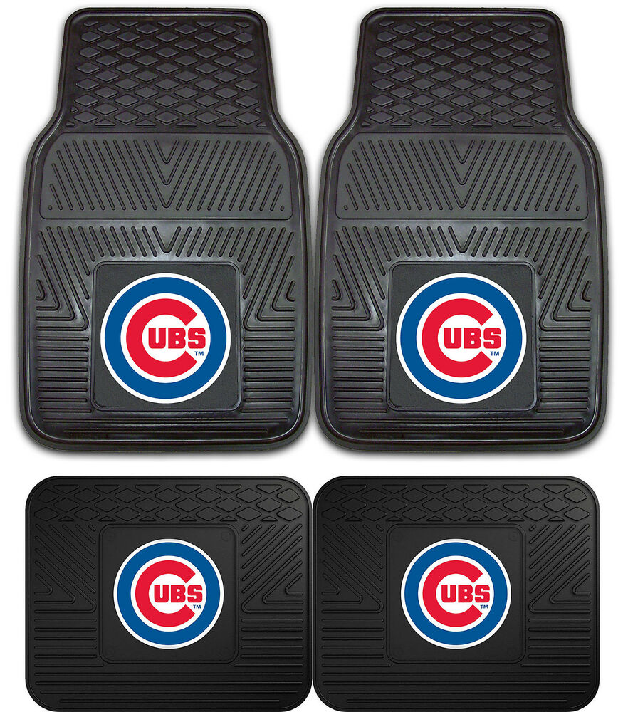 Chicago Cubs Heavy Duty Mlb Floor Mats 2 Amp 4 Pc Sets For