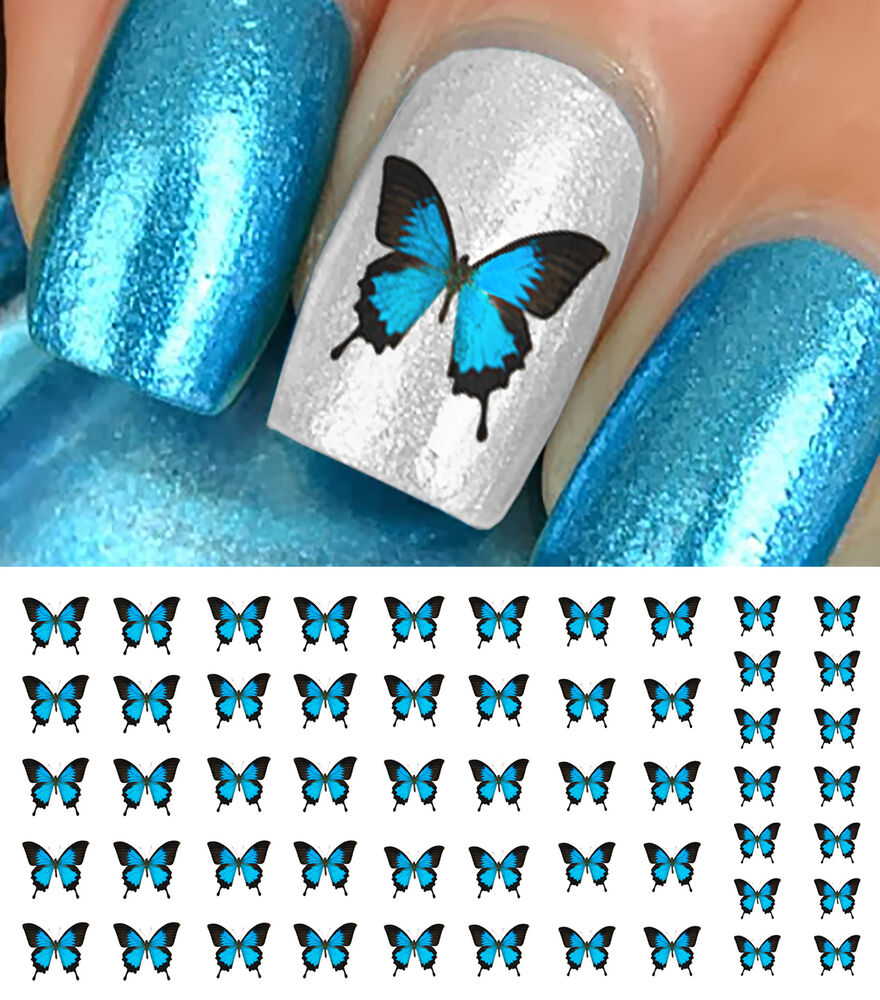 Butterfly Nail Art: Blue Butterfly Nail Art Waterslide Decals