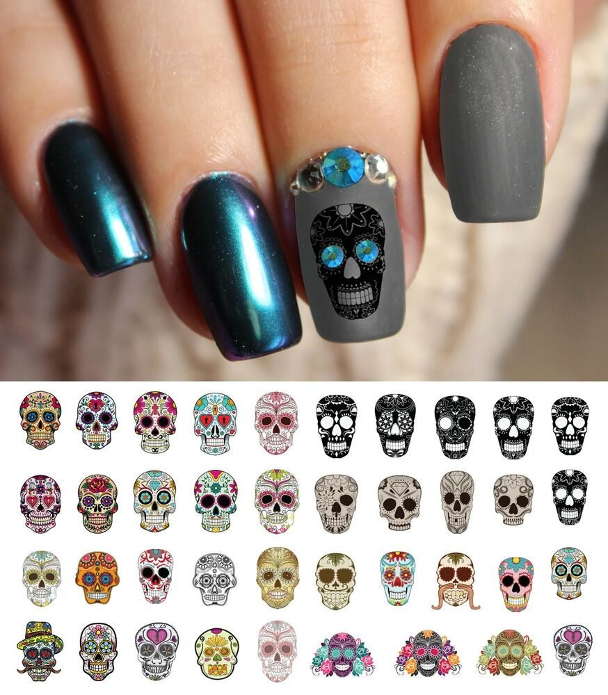 Details about Sugar Skull Nail Art Day of Dead Decals Set 1, Featured in  Rachael Ray Magazine! - Sugar Skull Nail Art Day Of Dead Decals Set 1, Featured In Rachael