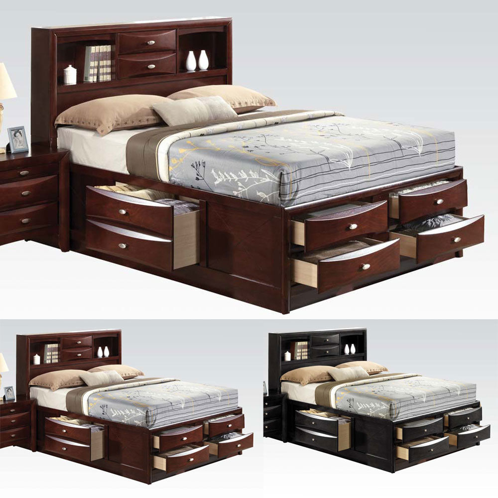 Ireland Black Espresso Queen Bed Multi Drawers Storage