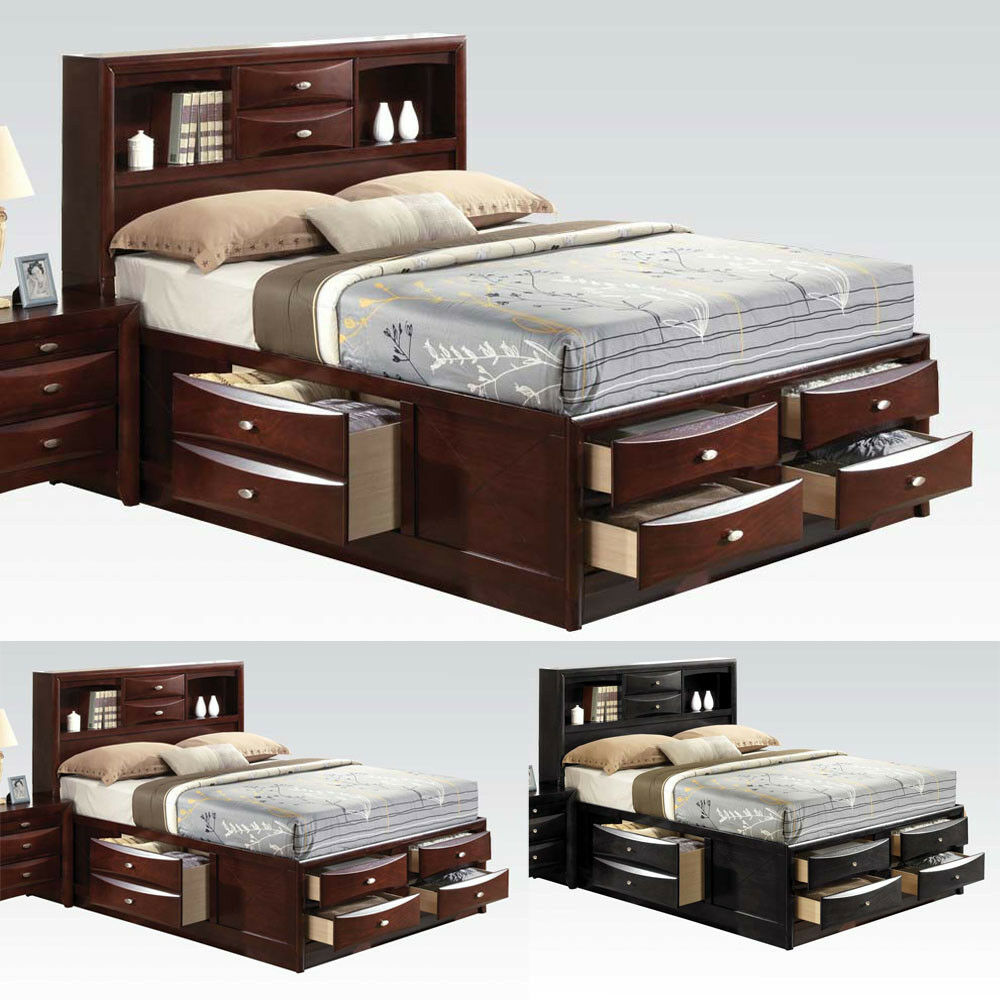 ireland black espresso queen bed multi drawers storage headboard footboard wood ebay. Black Bedroom Furniture Sets. Home Design Ideas