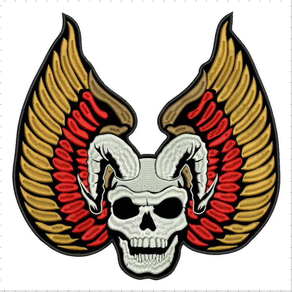 "Biker Vest Patches >> WINGS SKULL LARGE REAPER 10""x10"" - sew on for biker vest patch, anarchy, rock B 