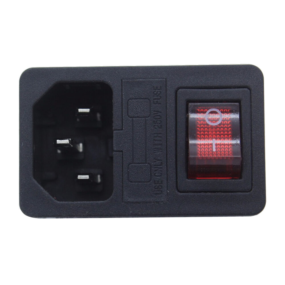 1pc Cord Inlet Power Socket With Red Light Rocker On  Off