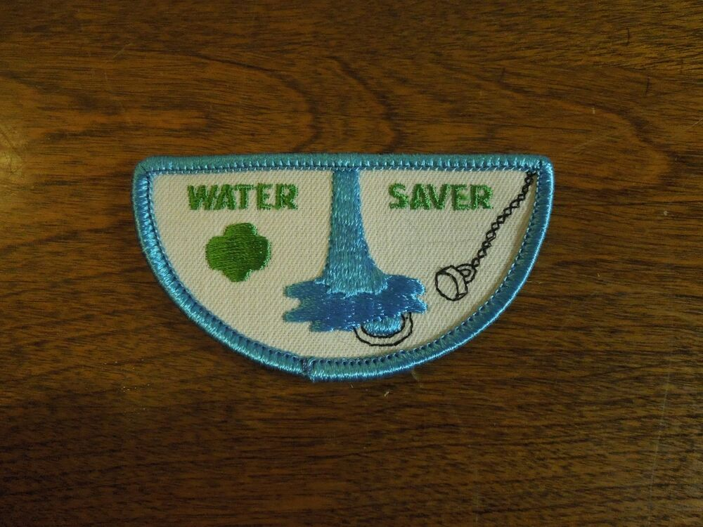 girl scouts embroidered iron on patch water saver badge ebay