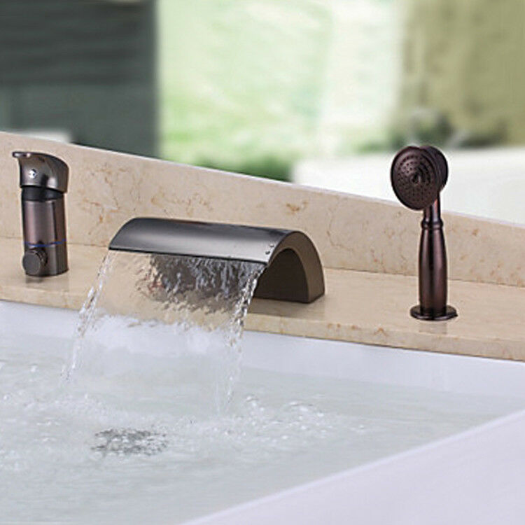 oil rubbed bronze waterfall bathtub faucet 3 holes mixer tap with hand
