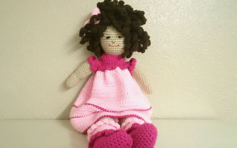Amigurumi Curly Doll : Amigurumi handmade crochet doll toy quot w pink clothes