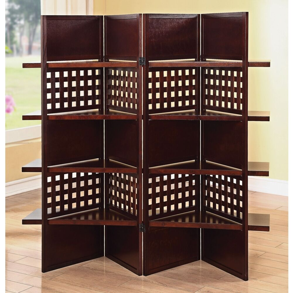 Wood Screens Room Dividers ~ Panel wooden screen divider w shelves dark brown finish