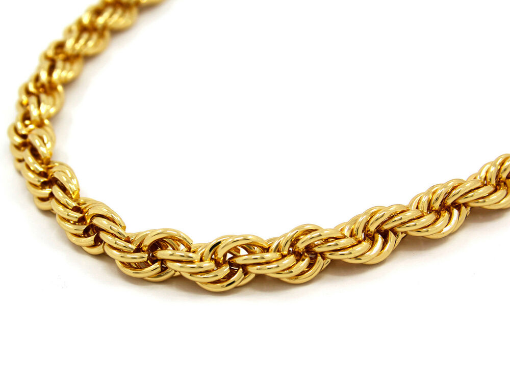 mens 14k yellow gold plated 12mm rope chain necklace 30