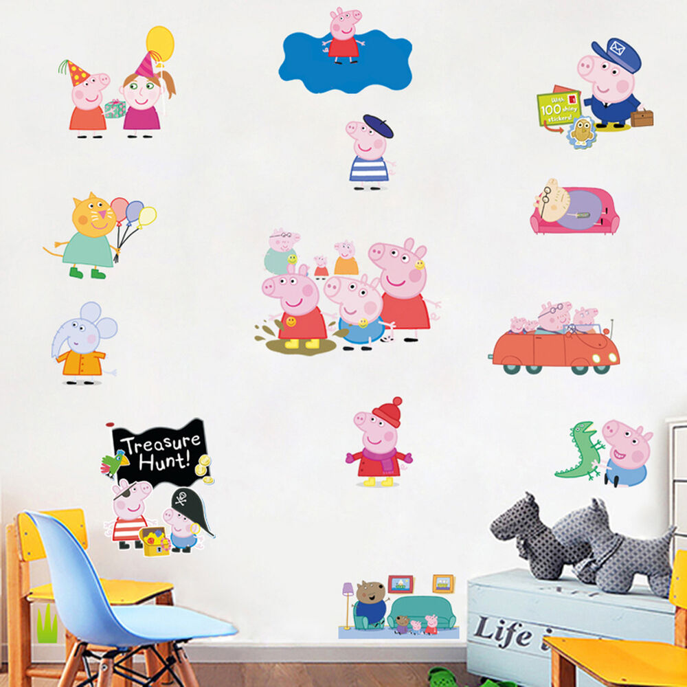 Peppa pig removable wall stickers vinyl decals baby kids for Baby mural stickers