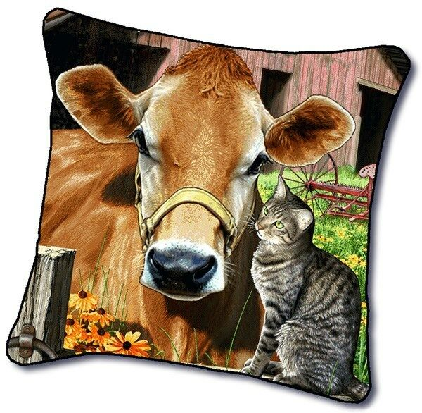 Cow Tapestry Pillow 17x17 Ebay