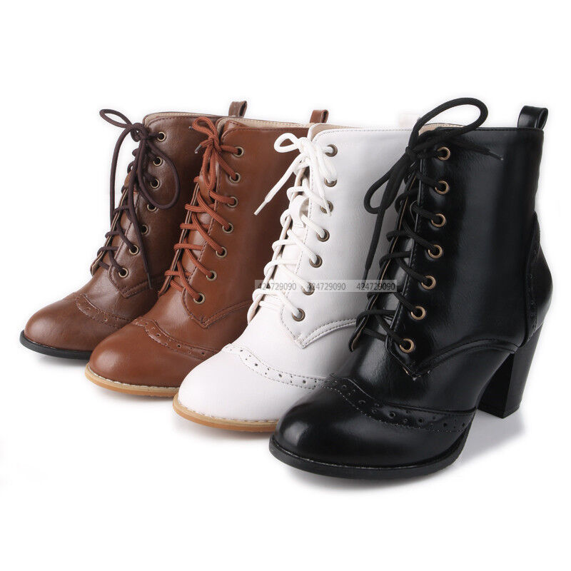 Cool Womens Ankle Boots Rugged Lace Up High Heel Shoes Black