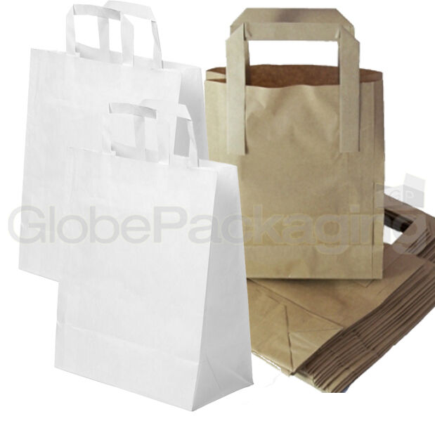 Brown Amp White Kraft Paper Sos Food Carrier Bags With