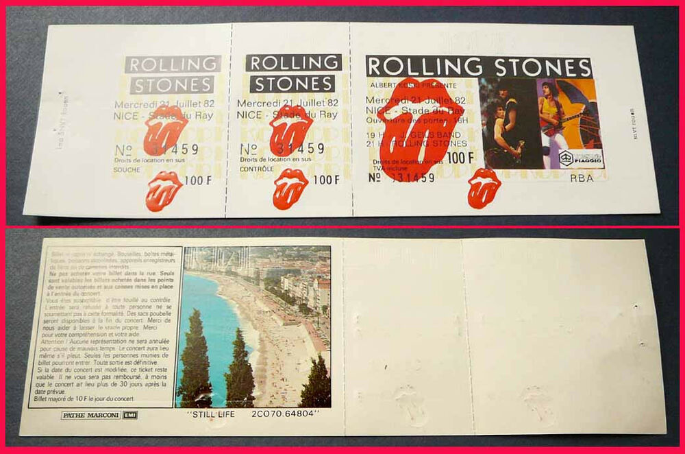 rolling stones 7 21 1982 nice france unused vintage concert ticket mick jagger ebay. Black Bedroom Furniture Sets. Home Design Ideas