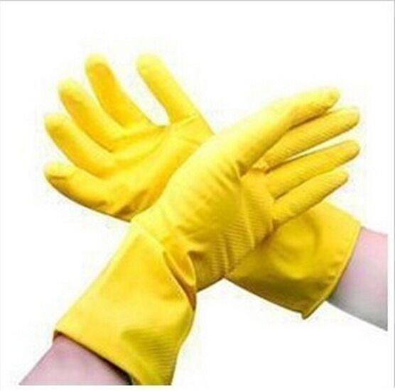 New Kitchen Cleaning Dish Washing Rubber Gloves Yellow 29