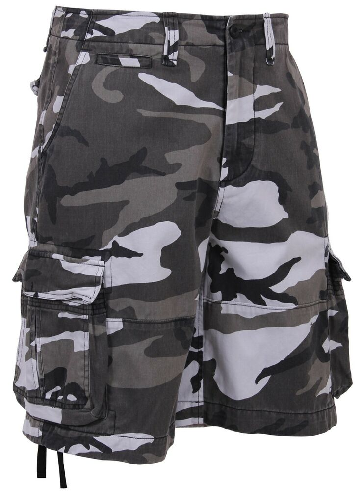 Product Features Woodland camo, white camo and grey casual shorts, suitable for work.