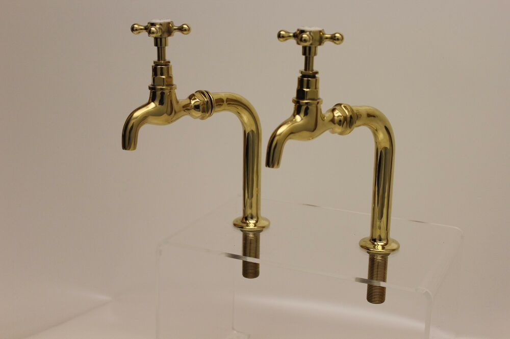 Pair of Polished BRASS Belfast sink Bib Taps with upstands