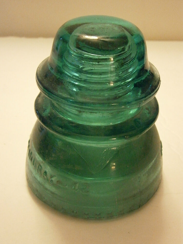 Vintage hemingray 42 glass insulator aqua blue green lot for Collectible glass insulators