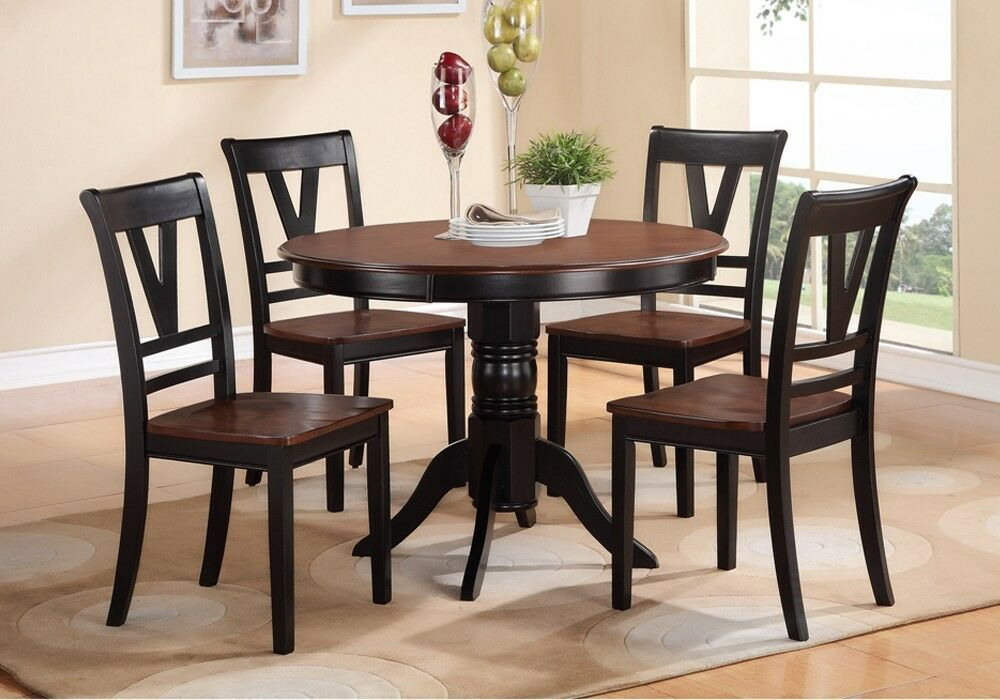 5 pcs country style 2 tone black cherry wood round table for Two seat kitchen table
