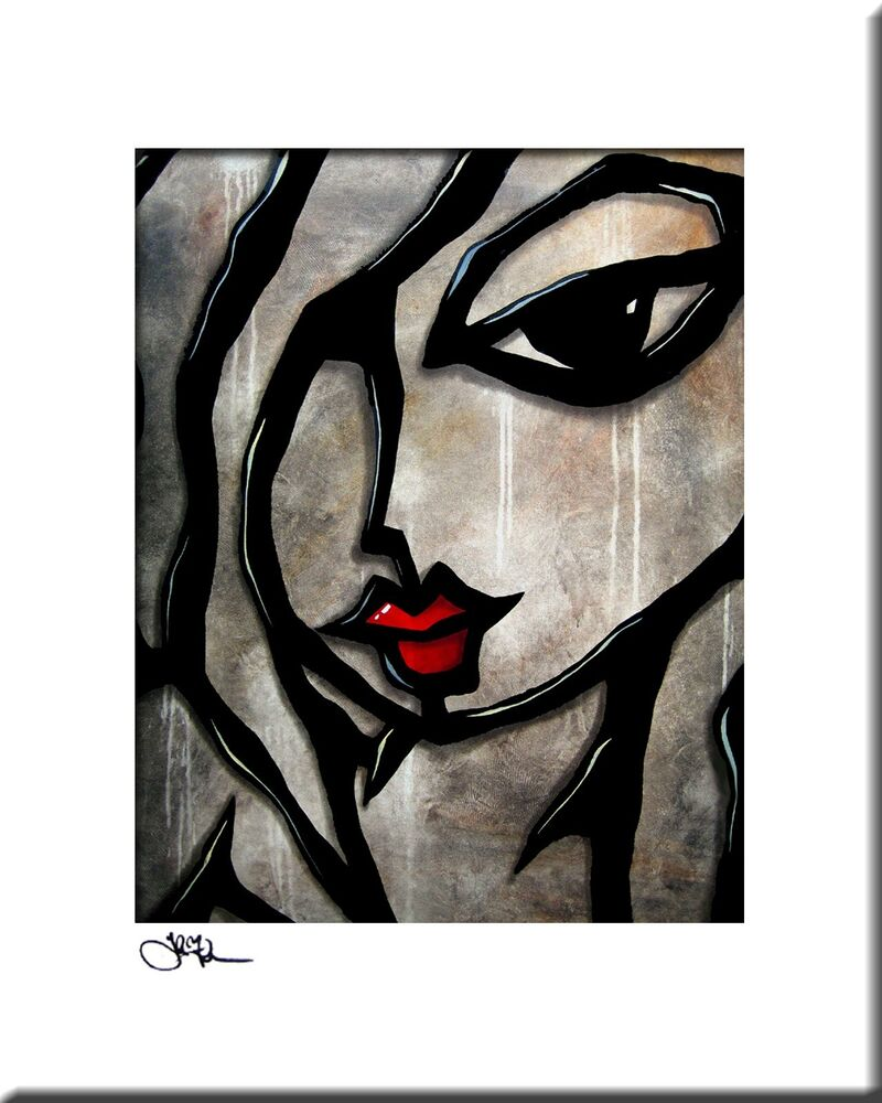weathered original abstract painting modern art urban face print by fidostudio ebay. Black Bedroom Furniture Sets. Home Design Ideas