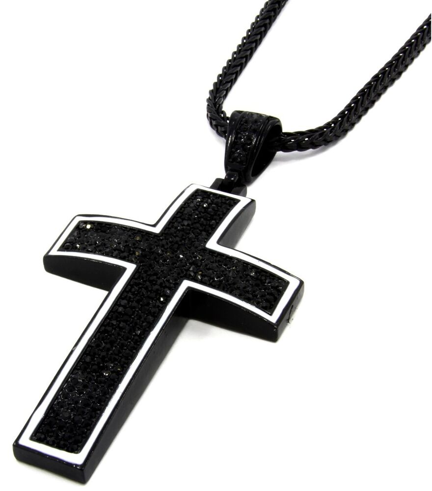 "Mens Black Iced Out Cross Pendant Hip-Hop 36"" Inch Franco ..."