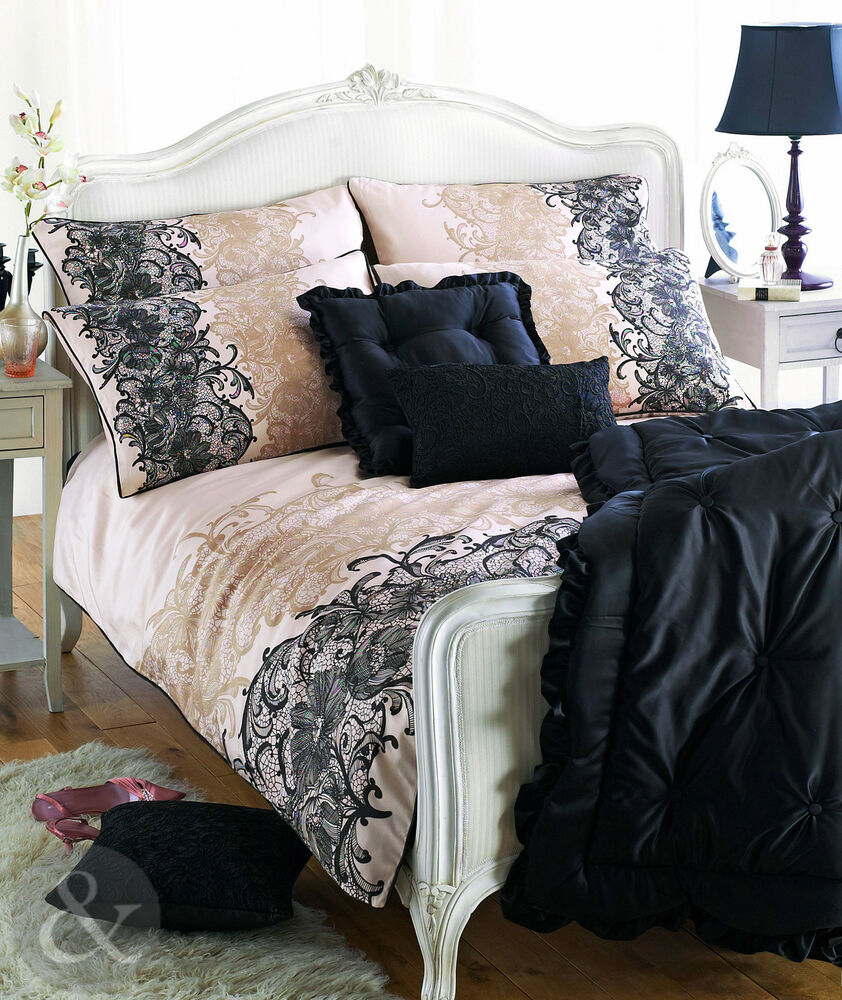 100 Cotton Sateen Duvet Quilt Cover Printed Lace Gold