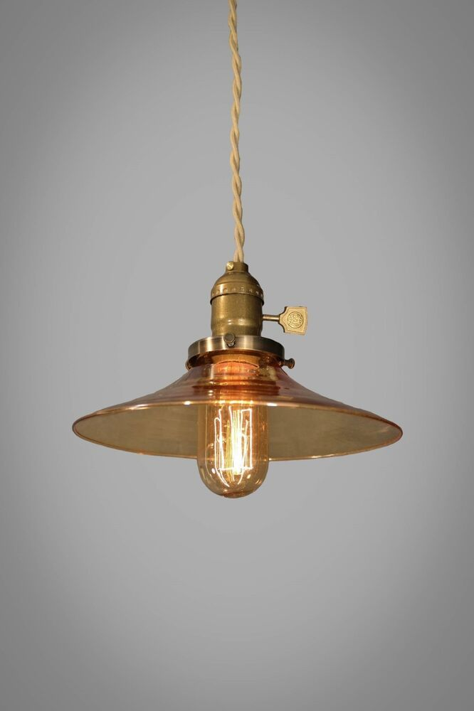 Vintage Industrial Pendant Light With Amber Glass Shade Ebay