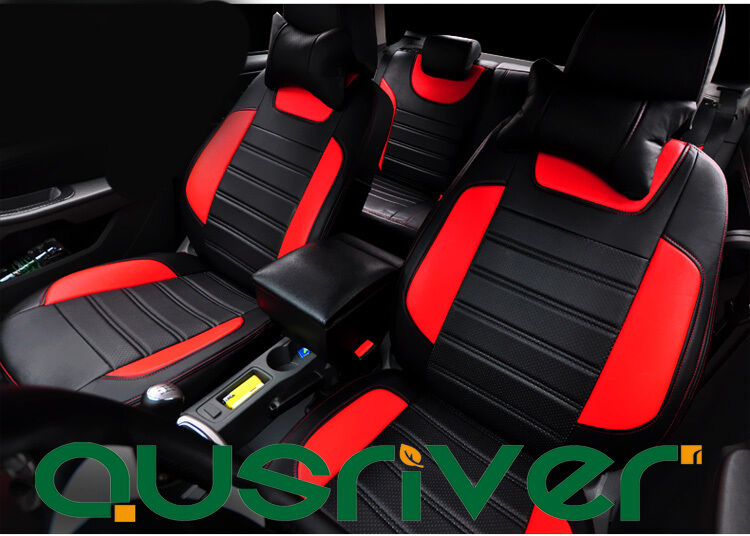 black red man made leather for ford focus car front rear seat cover set ebay. Black Bedroom Furniture Sets. Home Design Ideas